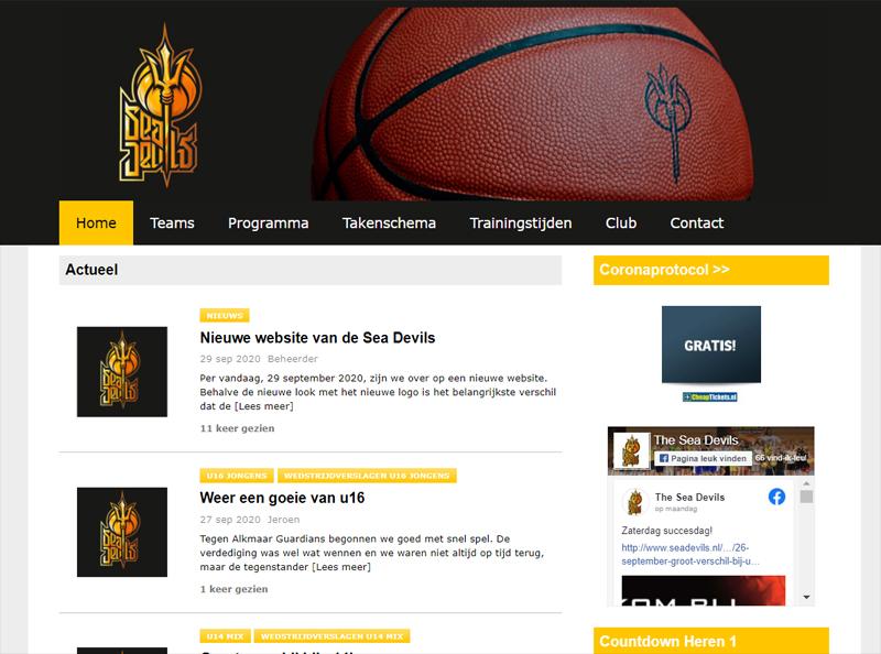 Nieuwe website van The Sea Devils